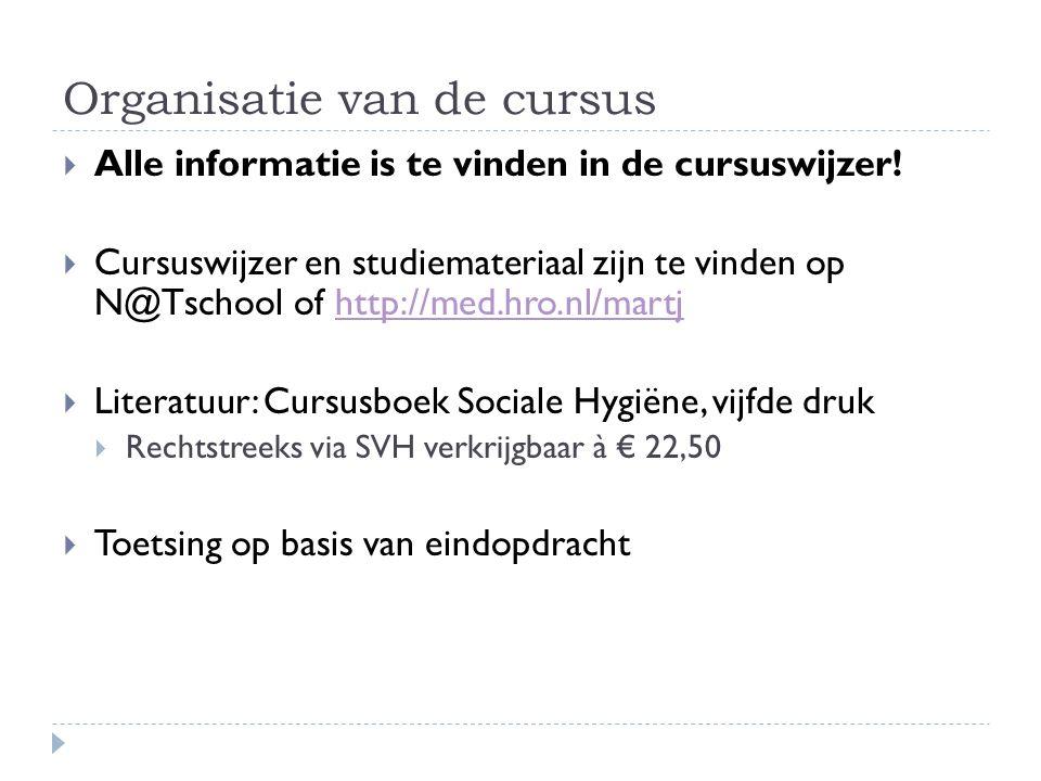Organisatie van de cursus  Alle informatie is te vinden in de cursuswijzer.