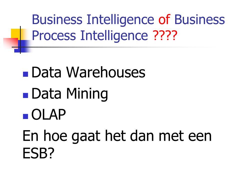 Business Intelligence of Business Process Intelligence ???? Data Warehouses Data Mining OLAP En hoe gaat het dan met een ESB?