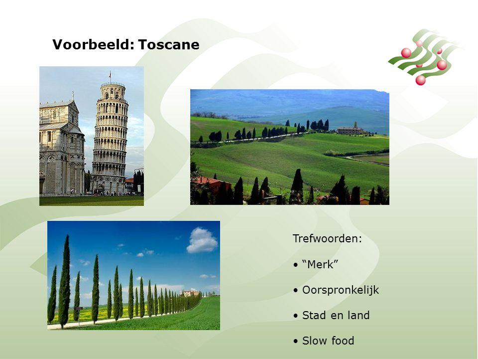 Voorbeeld: Toscane Trefwoorden: Merk Oorspronkelijk Stad en land Slow food