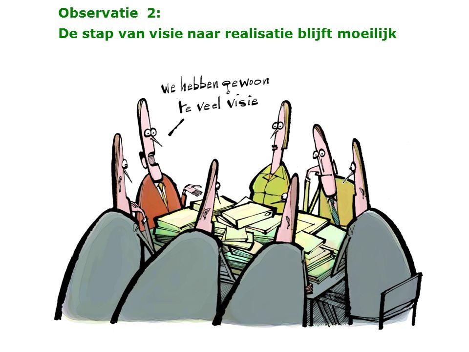 Observatie 2: De stap van visie naar realisatie blijft moeilijk