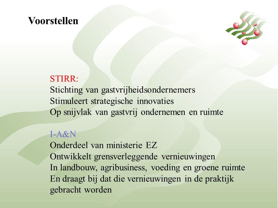 Voorstellen STIRR: Stichting van gastvrijheidsondernemers Stimuleert strategische innovaties Op snijvlak van gastvrij ondernemen en ruimte I-A&N Onderdeel van ministerie EZ Ontwikkelt grensverleggende vernieuwingen In landbouw, agribusiness, voeding en groene ruimte En draagt bij dat die vernieuwingen in de praktijk gebracht worden