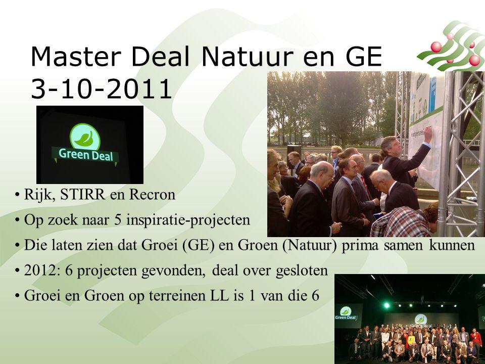 Master Deal Natuur en GE 3-10-2011 Rijk, STIRR en Recron Op zoek naar 5 inspiratie-projecten Die laten zien dat Groei (GE) en Groen (Natuur) prima samen kunnen 2012: 6 projecten gevonden, deal over gesloten Groei en Groen op terreinen LL is 1 van die 6