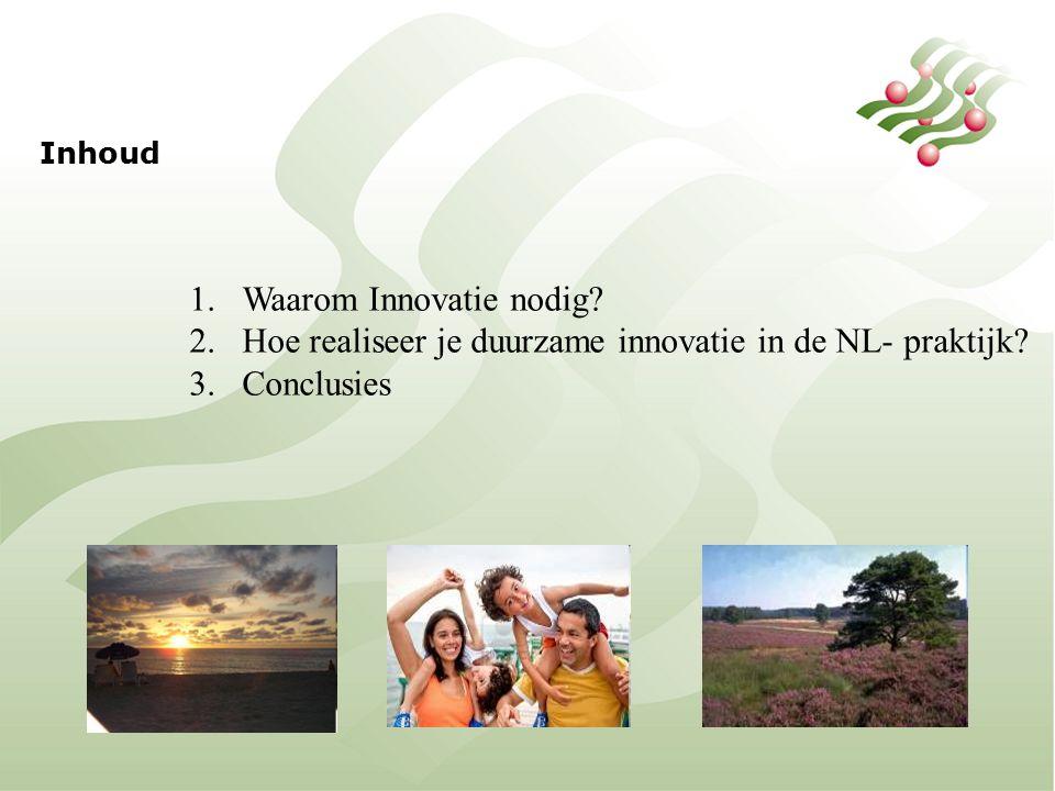 Inhoud 1.Waarom Innovatie nodig. 2.Hoe realiseer je duurzame innovatie in de NL- praktijk.