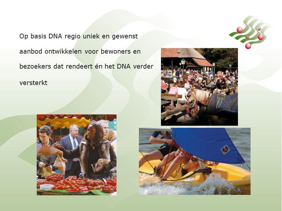 Op basis DNA regio uniek en gewenst aanbod ontwikkelen voor bewoners en bezoekers dat rendeert én het DNA verder versterkt