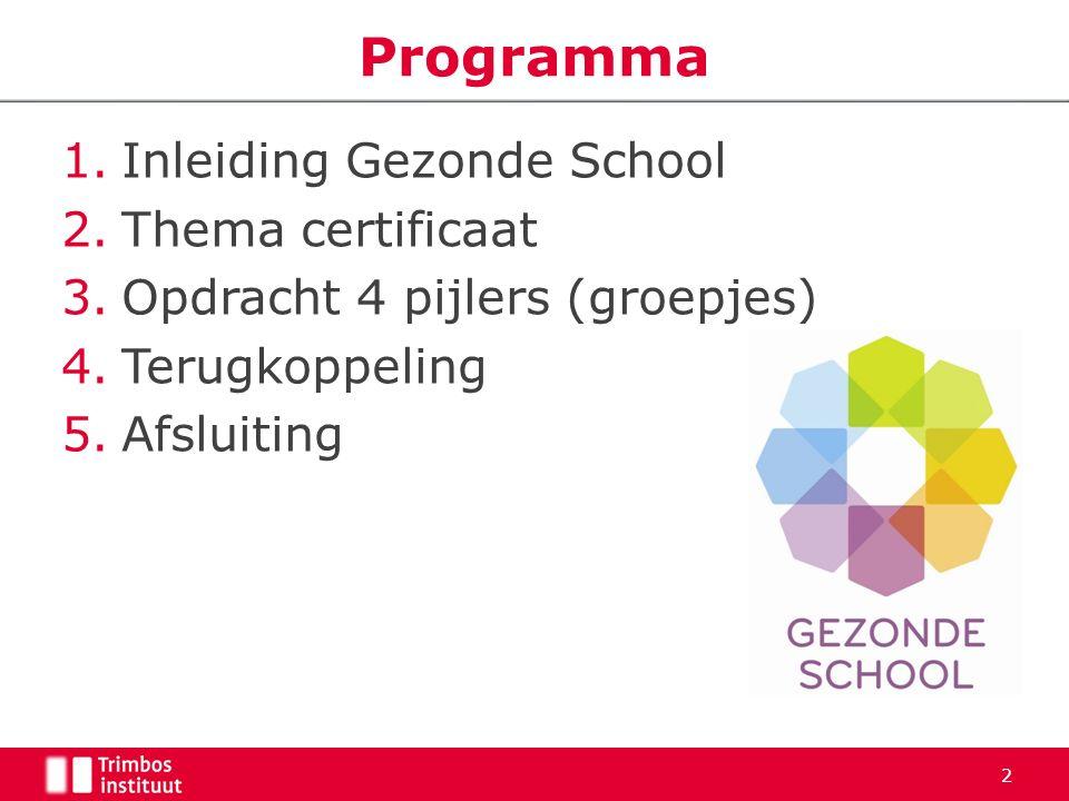 1.Inleiding Gezonde School 2.Thema certificaat 3.Opdracht 4 pijlers (groepjes) 4.Terugkoppeling 5.Afsluiting Programma 2