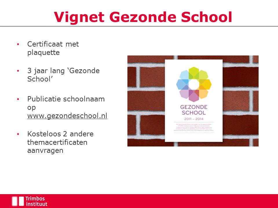 Certificaat met plaquette 3 jaar lang 'Gezonde School' Publicatie schoolnaam op www.gezondeschool.nl Kosteloos 2 andere themacertificaten aanvragen Vi