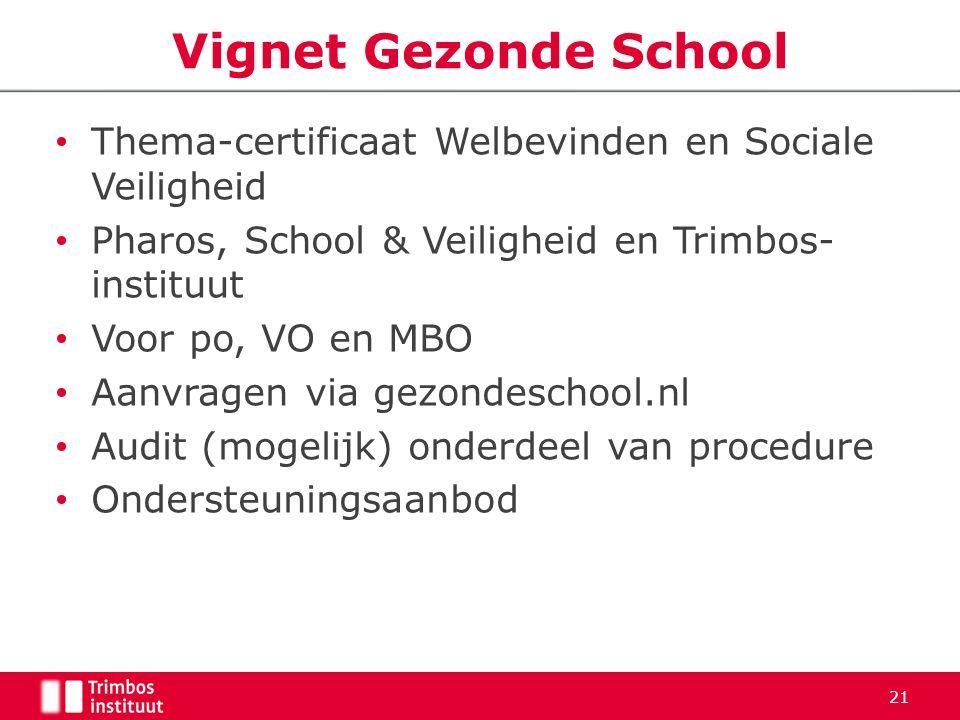 Thema-certificaat Welbevinden en Sociale Veiligheid Pharos, School & Veiligheid en Trimbos- instituut Voor po, VO en MBO Aanvragen via gezondeschool.n