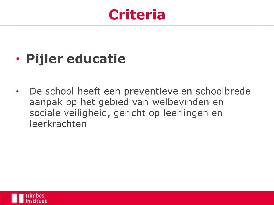 Criteria Pijler educatie De school heeft een preventieve en schoolbrede aanpak op het gebied van welbevinden en sociale veiligheid, gericht op leerlin
