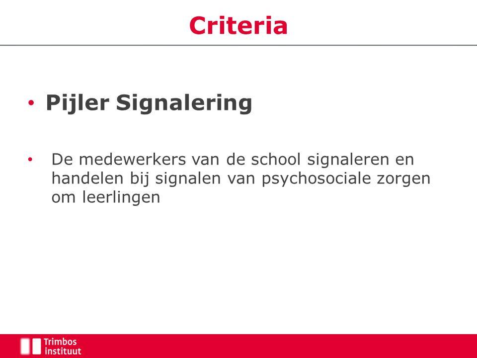 Criteria Pijler Signalering De medewerkers van de school signaleren en handelen bij signalen van psychosociale zorgen om leerlingen