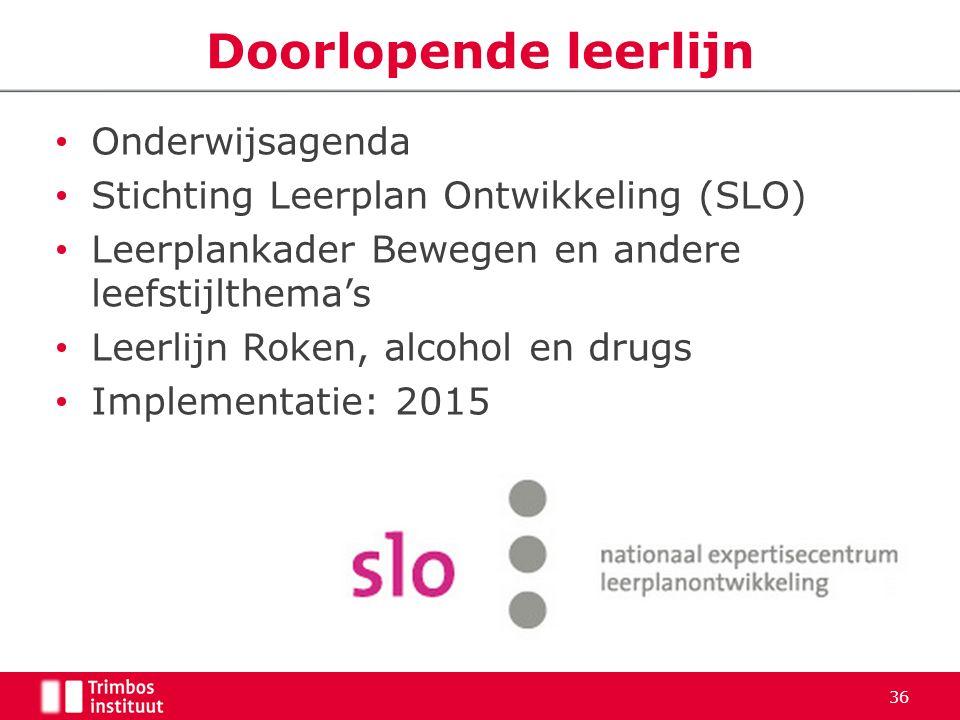 Onderwijsagenda Stichting Leerplan Ontwikkeling (SLO) Leerplankader Bewegen en andere leefstijlthema's Leerlijn Roken, alcohol en drugs Implementatie: