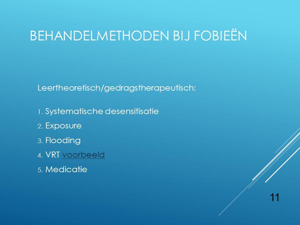 11 BEHANDELMETHODEN BIJ FOBIEËN Leertheoretisch/gedragstherapeutisch: 1. Systematische desensitisatie 2. Exposure 3. Flooding 4. VRT voorbeeldvoorbeel