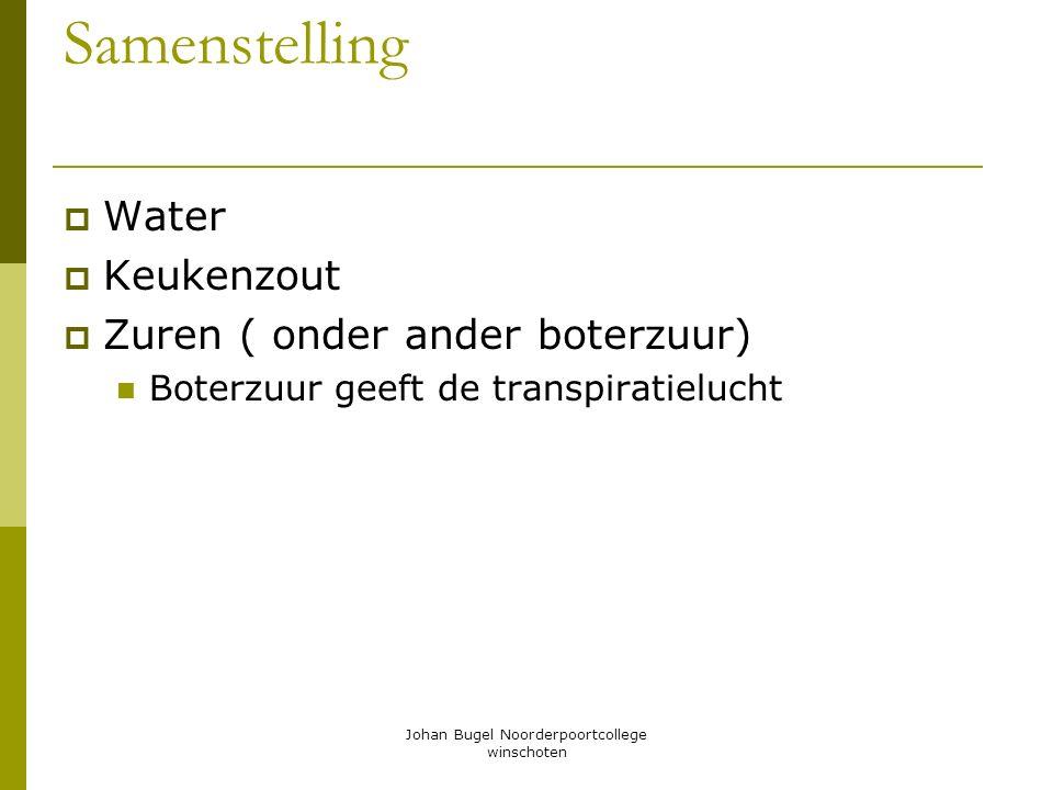 Johan Bugel Noorderpoortcollege winschoten Samenstelling WWater KKeukenzout ZZuren ( onder ander boterzuur) Boterzuur geeft de transpiratielucht