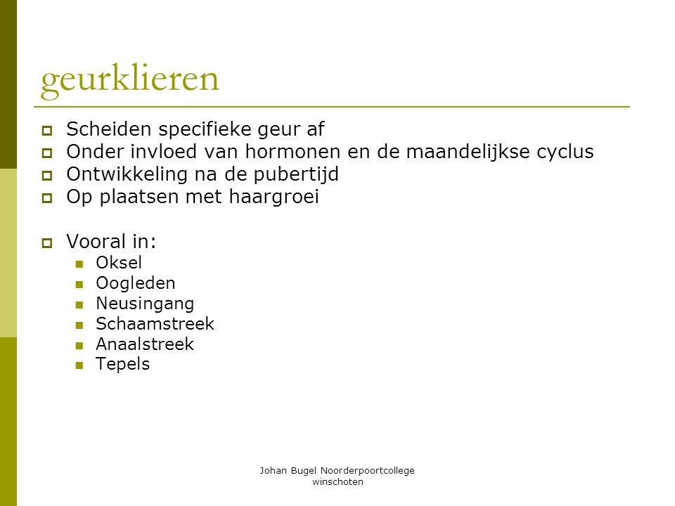 Johan Bugel Noorderpoortcollege winschoten geurklieren  Scheiden specifieke geur af  Onder invloed van hormonen en de maandelijkse cyclus  Ontwikke