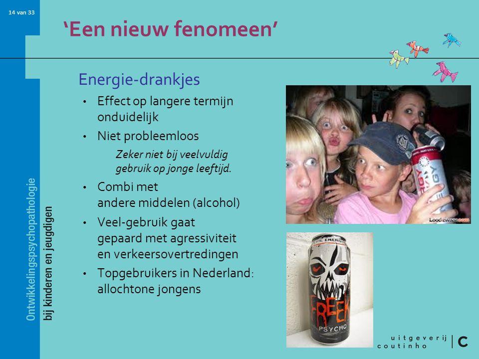 14 van 33 'Een nieuw fenomeen' Energie-drankjes Effect op langere termijn onduidelijk Niet probleemloos Zeker niet bij veelvuldig gebruik op jonge leeftijd.