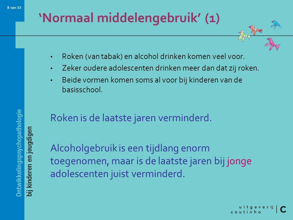 8 van 33 'Normaal middelengebruik' (1) Roken (van tabak) en alcohol drinken komen veel voor.