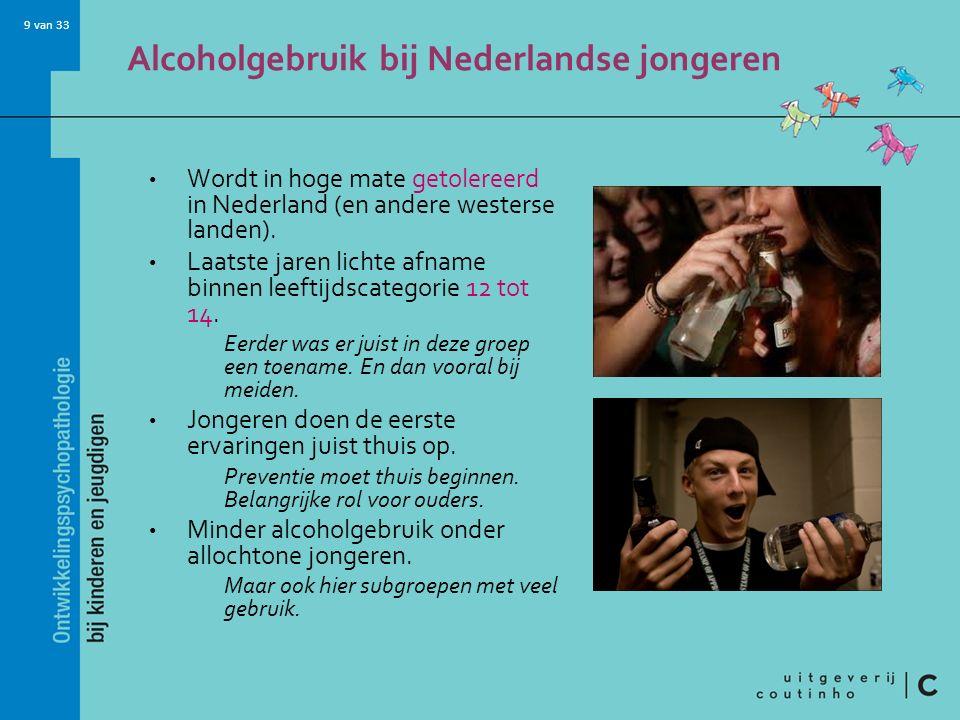 9 van 33 Alcoholgebruik bij Nederlandse jongeren Wordt in hoge mate getolereerd in Nederland (en andere westerse landen).