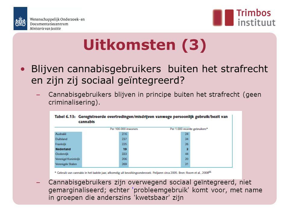 Uitkomsten (3) Blijven cannabisgebruikers buiten het strafrecht en zijn zij sociaal geïntegreerd? – Cannabisgebruikers blijven in principe buiten het