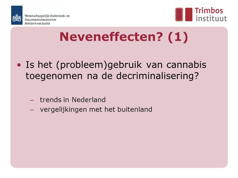Neveneffecten. (1) Is het (probleem)gebruik van cannabis toegenomen na de decriminalisering.
