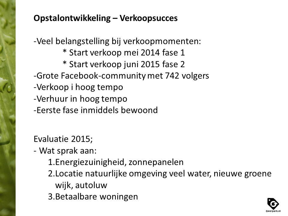 Opstalontwikkeling – Verkoopsucces -Veel belangstelling bij verkoopmomenten: * Start verkoop mei 2014 fase 1 * Start verkoop juni 2015 fase 2 -Grote F