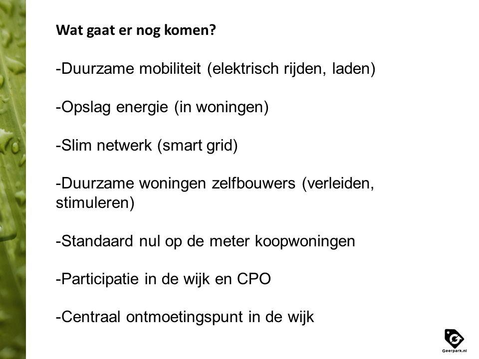 Wat gaat er nog komen? -Duurzame mobiliteit (elektrisch rijden, laden) -Opslag energie (in woningen) -Slim netwerk (smart grid) -Duurzame woningen zel