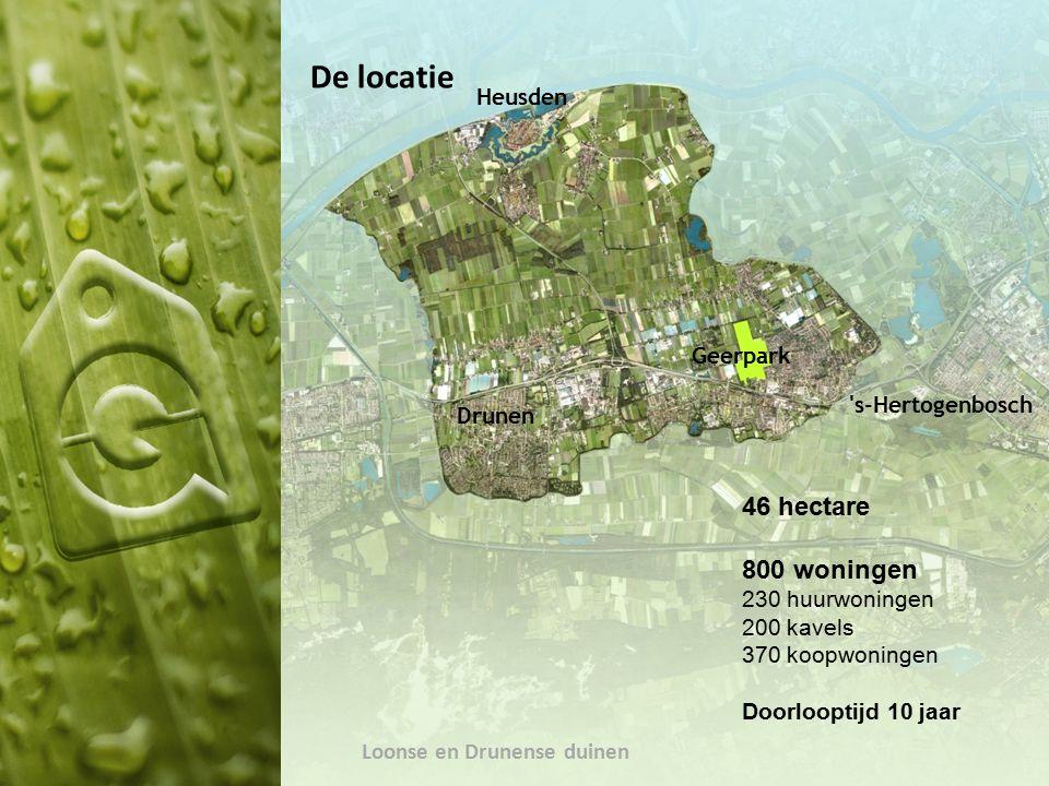 Heusden Drunen Geerpark s-Hertogenbosch Loonse en Drunense duinen De locatie 46 hectare 800 woningen 230 huurwoningen 200 kavels 370 koopwoningen Doorlooptijd 10 jaar