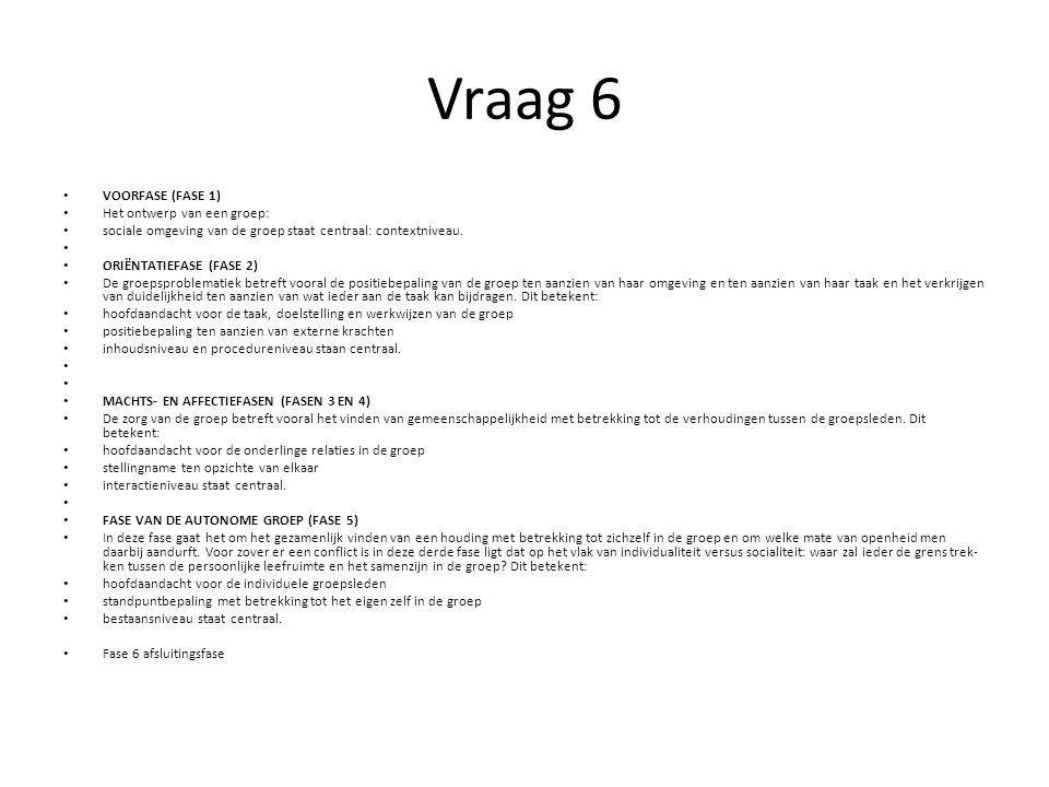 Vraag 6 VOORFASE (FASE 1) Het ontwerp van een groep: sociale omgeving van de groep staat centraal: contextniveau. ORIËNTATIEFASE (FASE 2) De groepspro