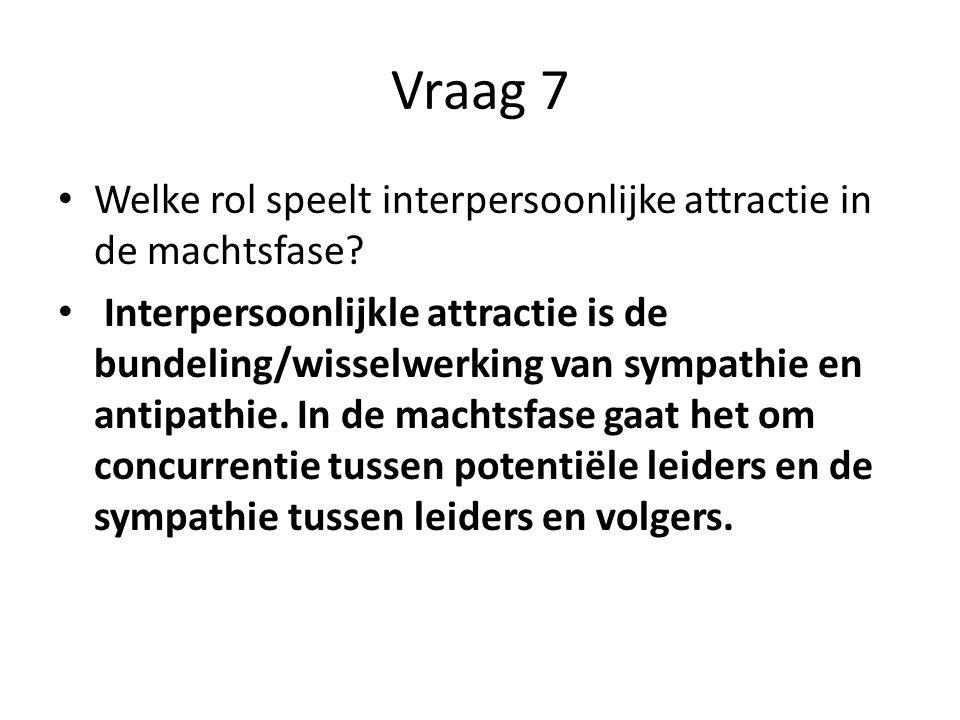 Vraag 7 Welke rol speelt interpersoonlijke attractie in de machtsfase? Interpersoonlijkle attractie is de bundeling/wisselwerking van sympathie en ant