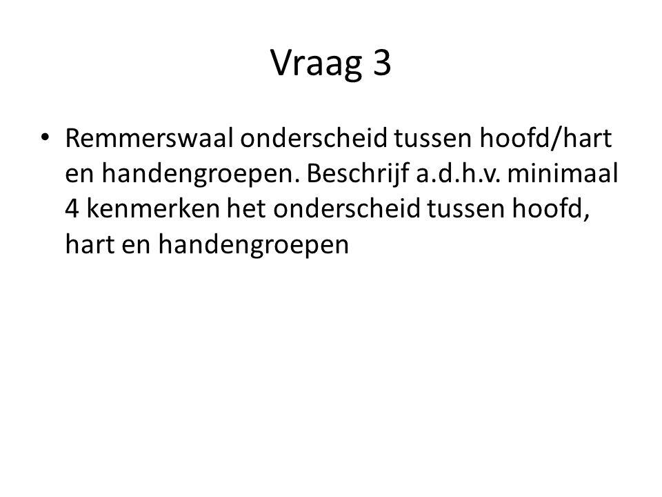 Vraag 3 Remmerswaal onderscheid tussen hoofd/hart en handengroepen. Beschrijf a.d.h.v. minimaal 4 kenmerken het onderscheid tussen hoofd, hart en hand