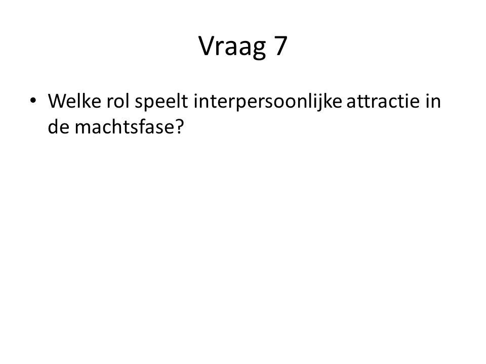 Vraag 8 Welke rol speelt interpersoonlijke attractie in de machtsfase?
