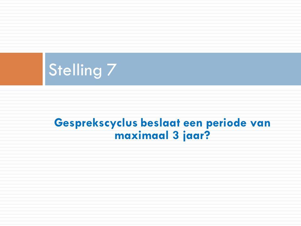 Gesprekscyclus beslaat een periode van maximaal 3 jaar Stelling 7