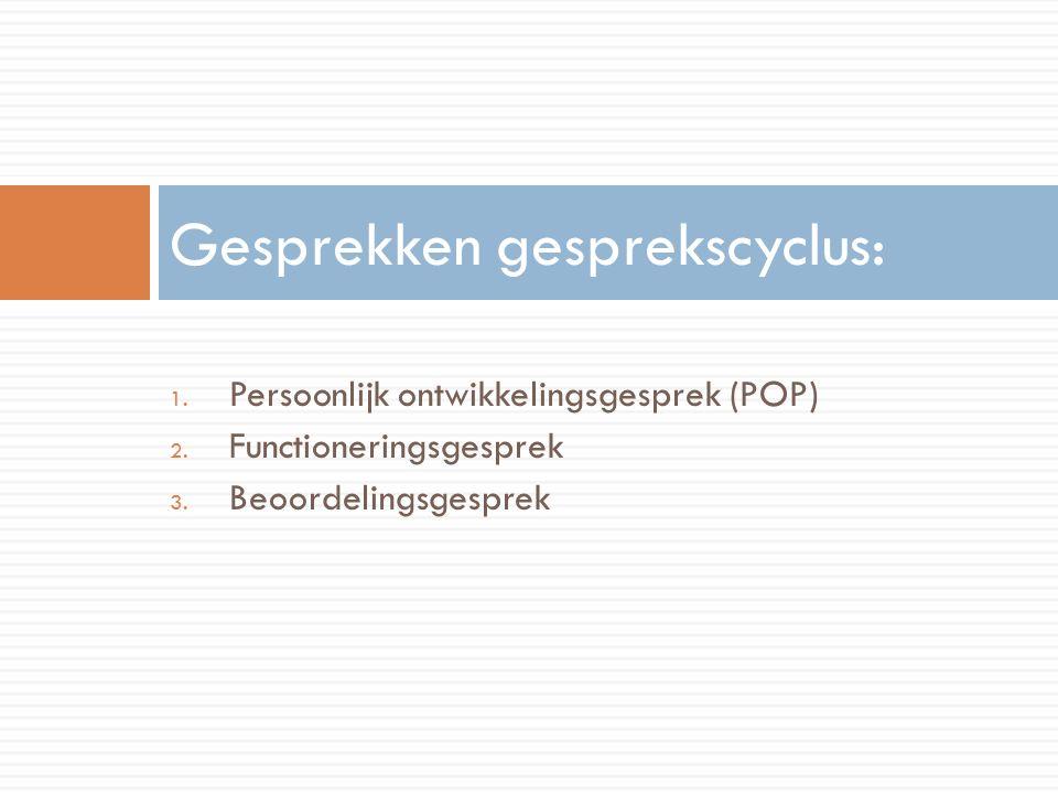 1. Persoonlijk ontwikkelingsgesprek (POP) 2. Functioneringsgesprek 3.