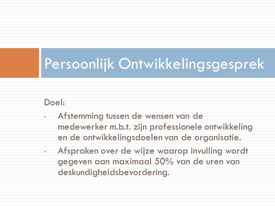 Doel: Afstemming tussen de wensen van de medewerker m.b.t.