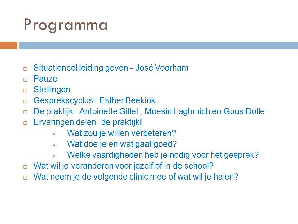 Programma  Situationeel leiding geven - José Voorham  Pauze  Stellingen  Gesprekscyclus - Esther Beekink  De praktijk - Antoinette Gillet, Moesin Laghmich en Guus Dolle  Ervaringen delen- de praktijk.