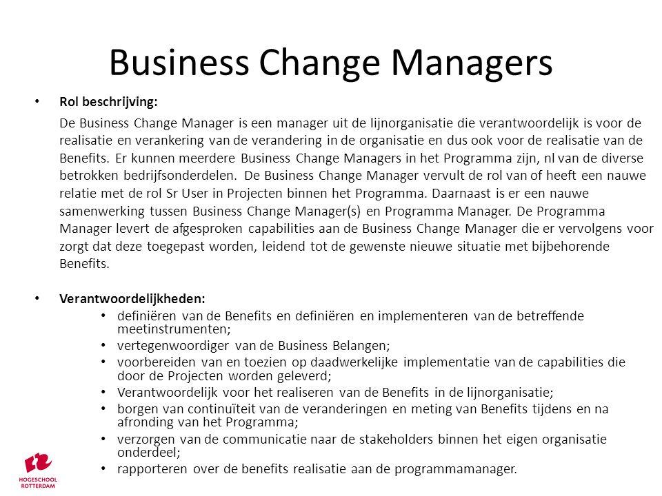 Rol beschrijving: De Business Change Manager is een manager uit de lijnorganisatie die verantwoordelijk is voor de realisatie en verankering van de ve