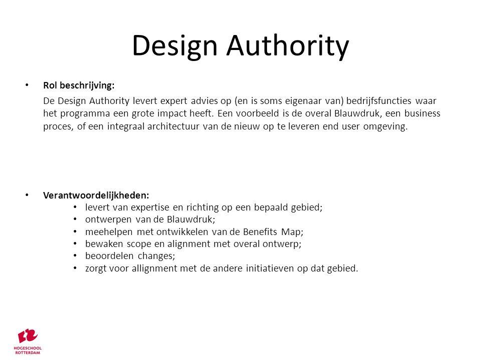 Rol beschrijving: De Design Authority levert expert advies op (en is soms eigenaar van) bedrijfsfuncties waar het programma een grote impact heeft. Ee