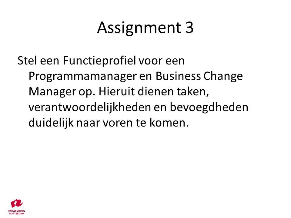 Assignment 3 Stel een Functieprofiel voor een Programmamanager en Business Change Manager op. Hieruit dienen taken, verantwoordelijkheden en bevoegdhe