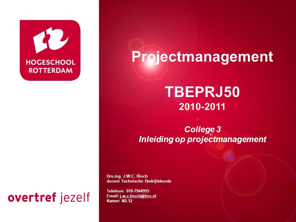 Presentatie titel Rotterdam, 00 januari 2007 Projectmanagement TBEPRJ50 2010-2011 College 3 Inleiding op projectmanagement Drs.ing.