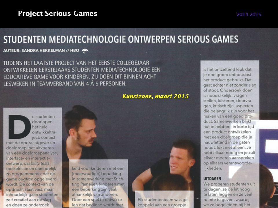 2014-2015 Project Serious Games Mediatechnologie 4 projecten per leerjaar.