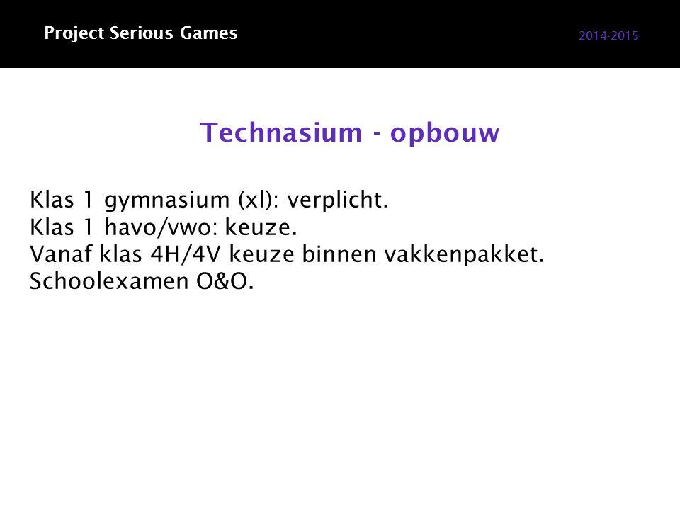 Technasium - opbouw 2014-2015 Klas 1 gymnasium (xl): verplicht.