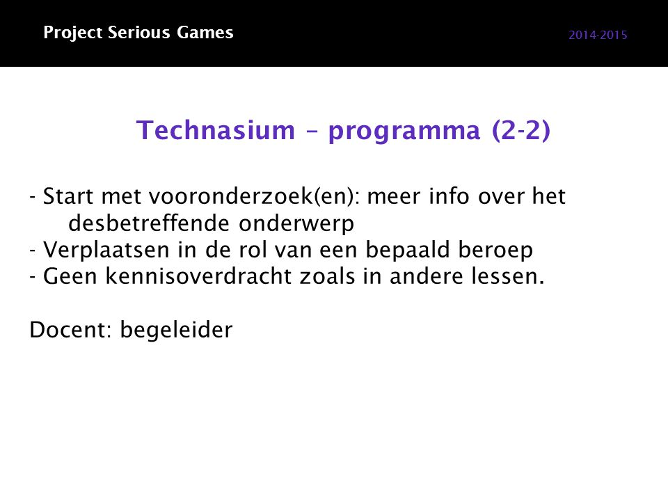 Technotutor 2014-2015 Project Serious Games