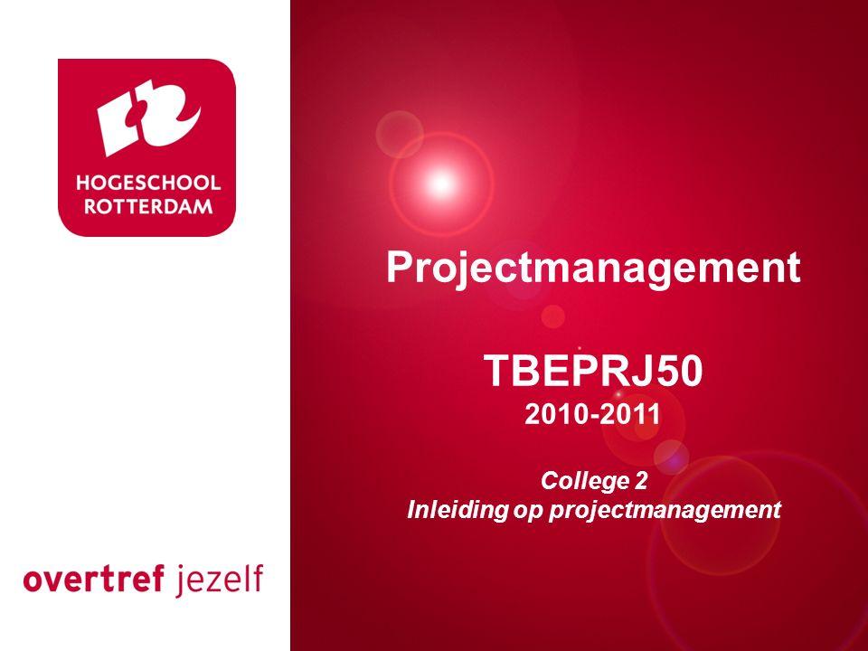 Presentatie titel Rotterdam, 00 januari 2007 Projectmanagement TBEPRJ50 2010-2011 College 2 Inleiding op projectmanagement