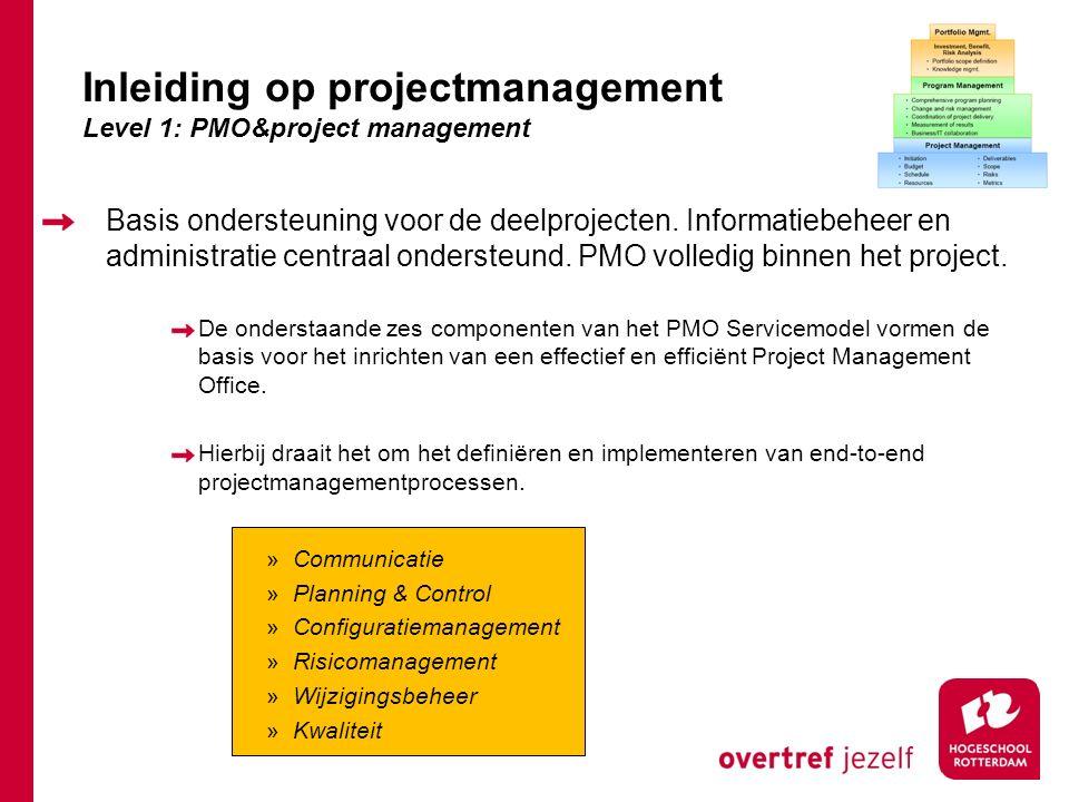 Basis ondersteuning voor de deelprojecten. Informatiebeheer en administratie centraal ondersteund. PMO volledig binnen het project. De onderstaande ze
