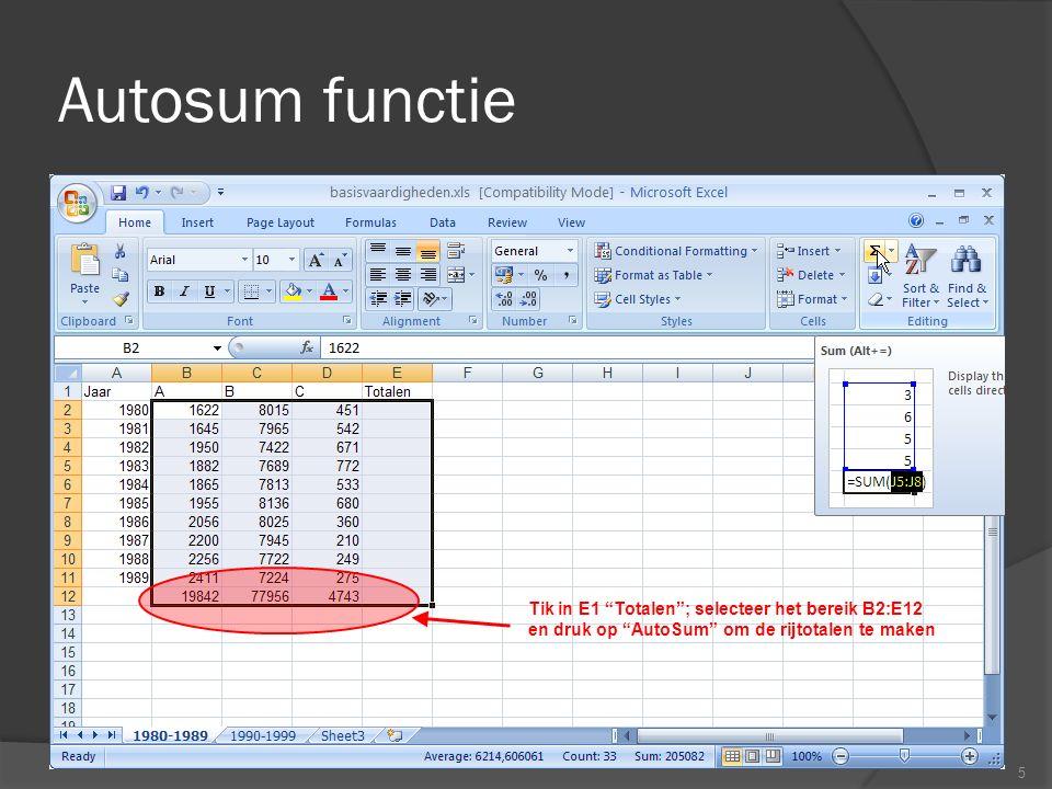 Autosum functie Tik in E1 Totalen ; selecteer het bereik B2:E12 en druk op AutoSum om de rijtotalen te maken 5
