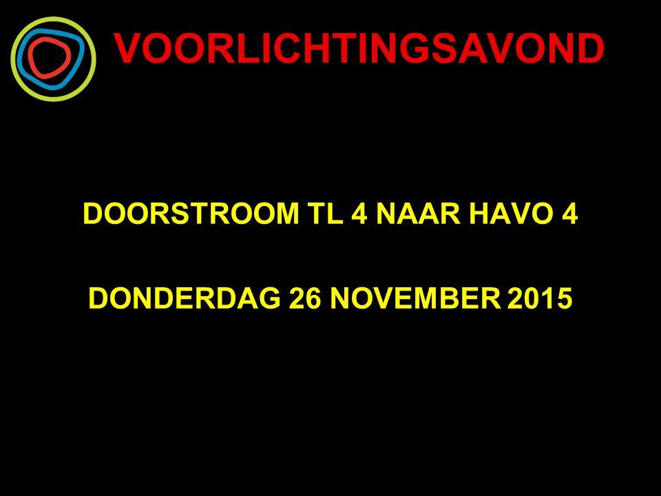 VOORLICHTINGSAVOND DOORSTROOM TL 4 NAAR HAVO 4 DONDERDAG 26 NOVEMBER 2015