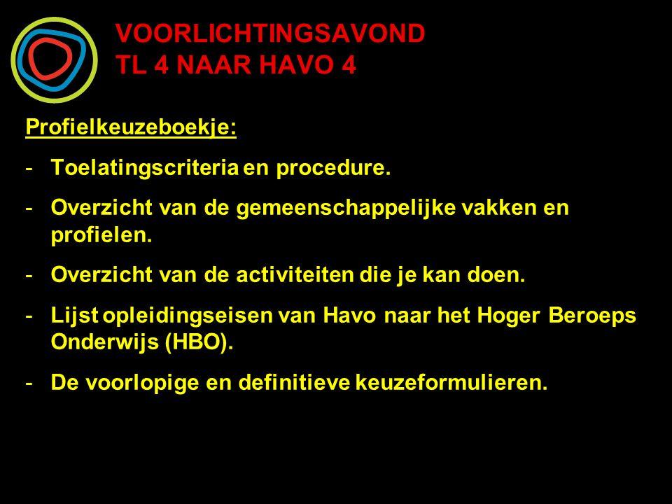 VOORLICHTINGSAVOND TL 4 NAAR HAVO 4 Profielkeuzeboekje: -Toelatingscriteria en procedure. -Overzicht van de gemeenschappelijke vakken en profielen. -O