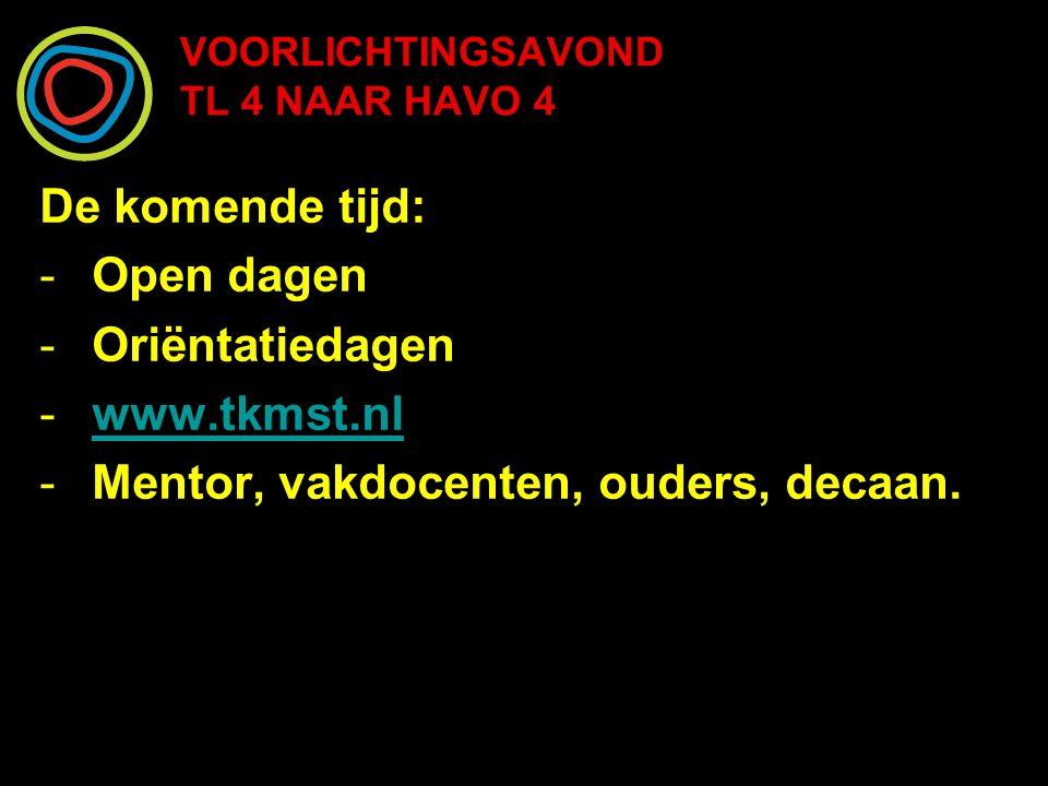 VOORLICHTINGSAVOND TL 4 NAAR HAVO 4 De komende tijd: -Open dagen -Oriëntatiedagen -www.tkmst.nlwww.tkmst.nl -Mentor, vakdocenten, ouders, decaan.