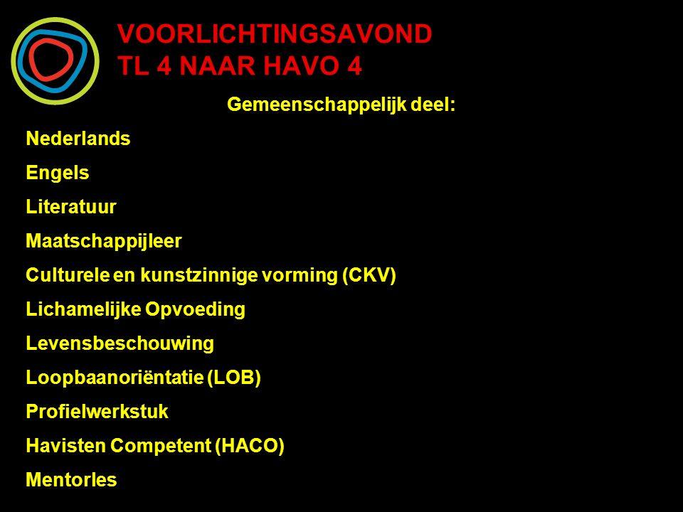 VOORLICHTINGSAVOND TL 4 NAAR HAVO 4 Gemeenschappelijk deel: Nederlands Engels Literatuur Maatschappijleer Culturele en kunstzinnige vorming (CKV) Lich