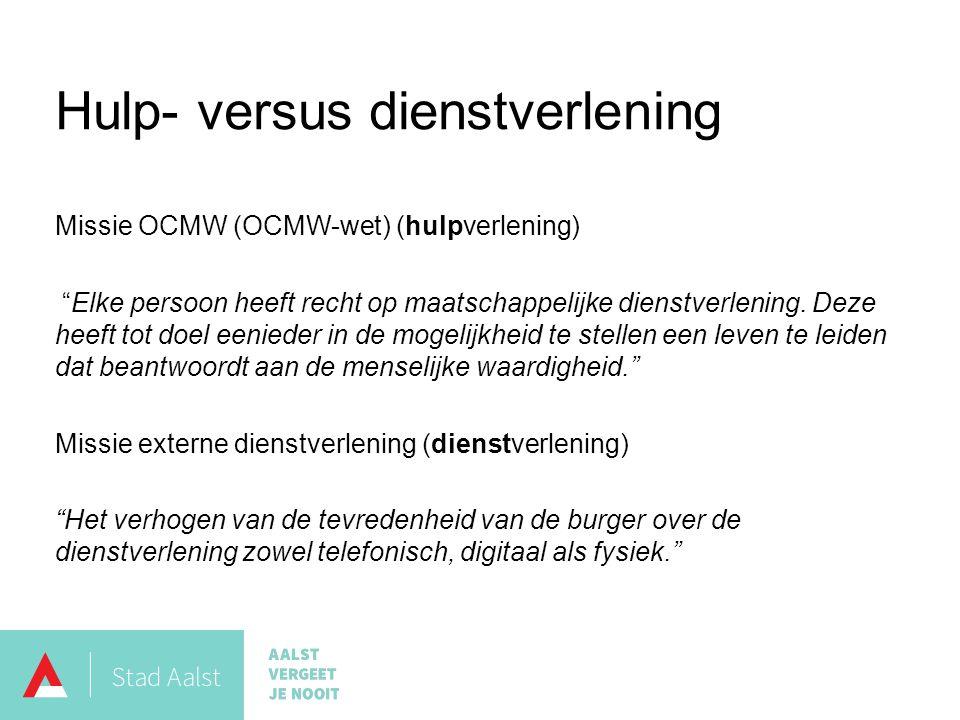 Hulp- versus dienstverlening Missie OCMW (OCMW-wet) (hulpverlening) Elke persoon heeft recht op maatschappelijke dienstverlening.