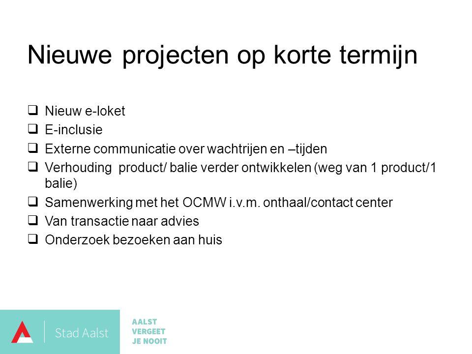 Nieuwe projecten op korte termijn  Nieuw e-loket  E-inclusie  Externe communicatie over wachtrijen en –tijden  Verhouding product/ balie verder ontwikkelen (weg van 1 product/1 balie)  Samenwerking met het OCMW i.v.m.