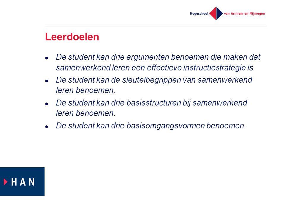 Leerdoelen De student kan drie argumenten benoemen die maken dat samenwerkend leren een effectieve instructiestrategie is De student kan de sleutelbegrippen van samenwerkend leren benoemen.